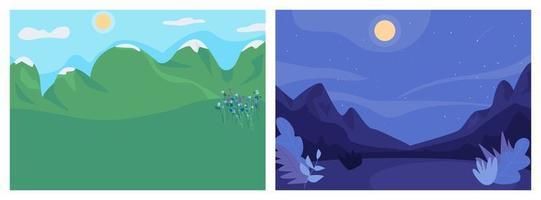 dag en nacht landschap egale kleur vector illustratie set