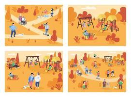 herfst recreatiegebied egale kleur vector illustratie set