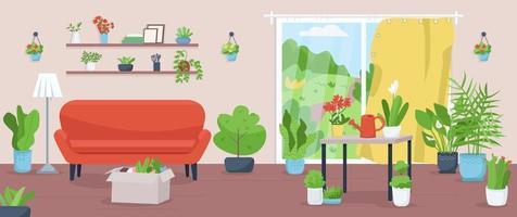 appartement met planten egale kleur vectorillustratie