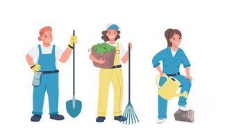 vrouwen tuinieren platte tekenset. vector