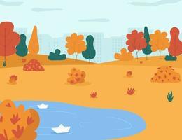 herfst park semi platte vectorillustratie