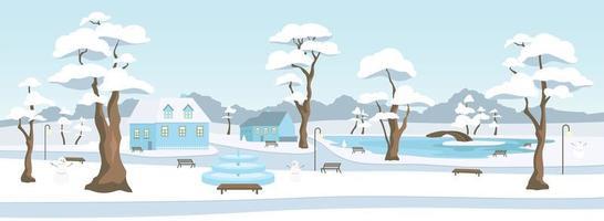 stadspark in winterseizoen egale kleur vectorillustratie