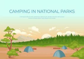 kamperen in nationale parken banner platte vector sjabloon