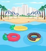 badplaats en zwembad drijft egale kleur vectorillustratie