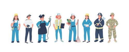 vrouw beroepen egale kleur vector gedetailleerde tekens instellen