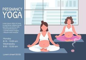 zwangerschap yoga poster platte vector sjabloon