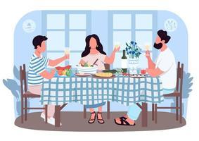 Grieks diner voor vrienden 2d vector webbanner, poster