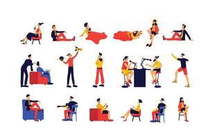 vrijetijdsbesteding mensen egale kleur vector gezichtsloze tekenset