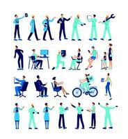 industriële werknemers egale kleur vector gezichtsloze tekenset