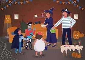 halloween viering semi platte vectorillustratie