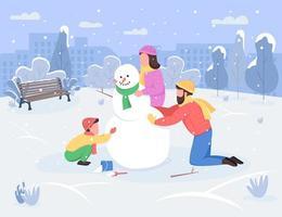 winter gezinsactiviteit semi platte vectorillustratie