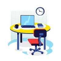 kantoor werkplek egale kleur vector-object