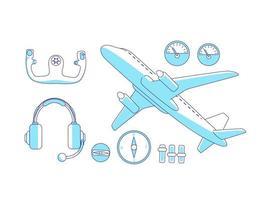 luchtvaart items turkoois lineaire objecten ingesteld