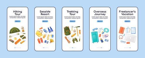 reis essentials onboarding mobiele app scherm platte vector sjabloon