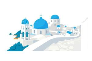 Santorini gebouwen egale kleur vector-object vector