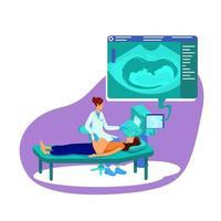 echografie voor zwangere vrouw platte concept vectorillustratie