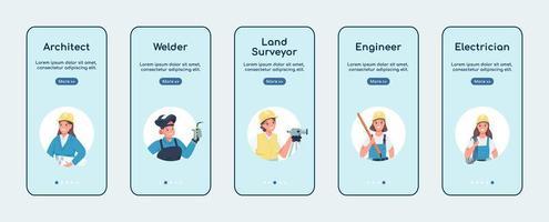 niet-traditionele banen voor vrouwen onboarding mobiele app platte vector schermsjabloon