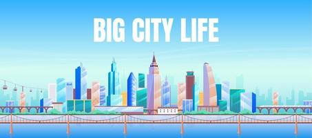 grote stad leven banner platte vector sjabloon