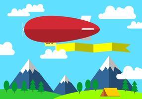 Red Dirigible Met Banner Gratis Vector