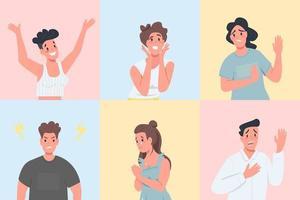 verschillende emotionele uitdrukkingen egale kleur vector gezichtsloze tekenset