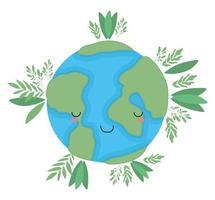 kawaii wereld bol cartoon met bladeren vector ontwerp