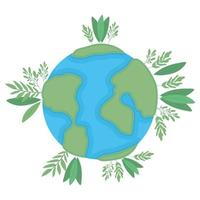 geïsoleerde wereldbol met bladeren vector design