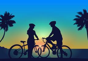 montar un par de bicicletas vector