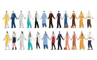 mannen en vrouwen werknemers met maskers vector ontwerp