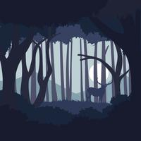 Donkerblauwe abstracte bosillustratie