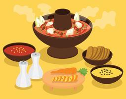 Hotpot + ingrediëntenillustratie vector