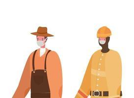 mannelijke tuinman en constructeur met maskers vector ontwerp