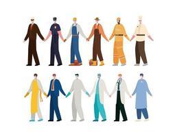 mannen met maskers vector ontwerp