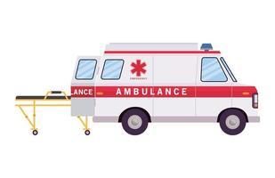ambulance paramedicus auto zijaanzicht en brancard vector ontwerp