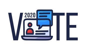 stem online concept. elektronisch stemmen in de Verenigde Staten. praatjebel op laptopscherm en tekst. presidentsverkiezingen 2020 en coronavirus quarantaine vectorillustratie.