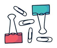 hand getrokken paperclip doodle pictogram in cartoon stijl vector illustratie set