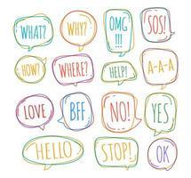 set van verschillende tekstballon in doodle stijl met tekst nee, stop, ok, ja, liefde, sos, wat en andere binnenin. vector illustratie