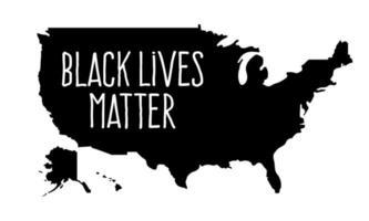 zwarte levens zijn belangrijk of ik kan geen tekst op de kaart van de VS ademen. voorraad vectorillustratie