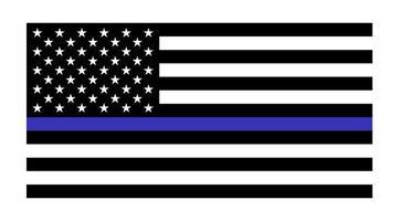 vector vlag van de Verenigde Staten met blauwe lijn ter ere van politie en recht. achtergrond, officier.