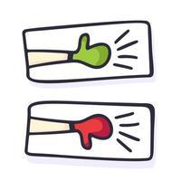hand getrokken duimen omhoog en omlaag. zoals en in tegenstelling tot zaken geïsoleerde schets vectorillustratie van hand met duim omhoog vinger, ok en negatief