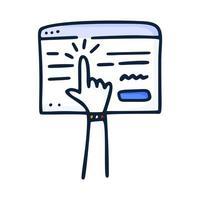 een online concept kopen. het browservenster en de hand die op de knop drukt en een bestelling plaatst op internet. vectorillustratie handgetekend in doodle stijl vector