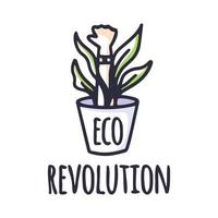 eco protest creatief groen poster concept. groene revolutie eco vuist symbool. web pictogram logo sjabloon ontwerpelement. vector