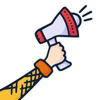 een hand houdt een megafoon vast die belangrijk nieuws en aanbiedingen vertelt. informatieconcept met doodle handgetekende stijl