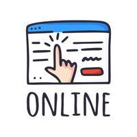 een online concept kopen. het browservenster en de hand die op de knop drukt en een bestelling plaatst op internet. vectorillustratie handgetekend in doodle stijl