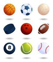 realistische sportballen vector grote set geïsoleerd op een witte achtergrond. vectorillustratie van voetbal en honkbal, voetbalwedstrijd, tennis, bowlen, ijshockey, volleybal