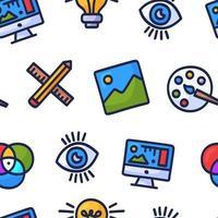 grafisch ontwerp creatief naadloos patroon. hand getrokken doodle naadloze patroon met grafisch ontwerp. kleurrijke cartoon pictogrammen