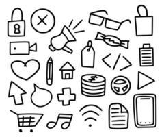 mega verzameling doodle-items. vector set handgetekende iconen van verschillende onderwerpen