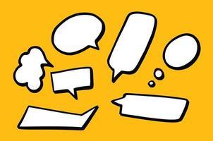 hand getrokken achtergrondreeks leuke tekstballonnen in krabbelstijl op gele achtergrond vector