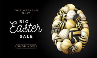 luxe gelukkige paaskaart met eieren. veel mooie gouden realistische eieren zijn neergelegd in de vorm van een groot ei. vectorillustratie voor Pasen op zwarte achtergrond.