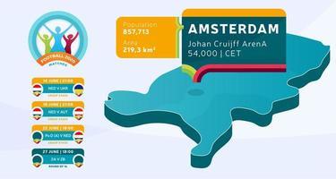 isometrische landkaart van nederland getagd in het stadion van amsterdam, dat zal worden gehouden voetbalwedstrijden vectorillustratie. voetbal 2020 toernooi finale fase infographic en landinformatie vector