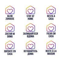 blijf thuis ontwerp vector logo in verschillende talen. uitbraak van het coronavirus van Covid-19. blijf thuis om anderen te beschermen. sticker voor website of project